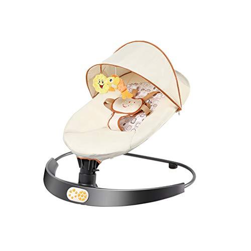 LJQ Babyschaukel Schaukelstuhl, Neugeborenes Schaukelbett, Bluetooth-Schlaf, Fernbedienung, Schwenken nach Links und rechts, Geeignet für Kinder im Alter von 0-3,Beige