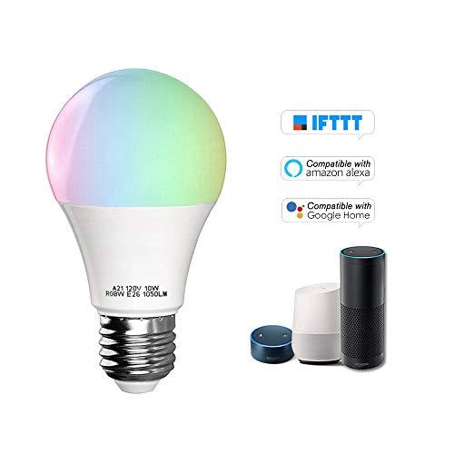 Festnight V5 Smart WIFI LED Lampadina RGB + W LED Bulb 11W E26 Dimmable Light Phone Telecomando Controllo di gruppo Compatibile con Alexa Google Home Tmall Genie Voice Control Light Bulb