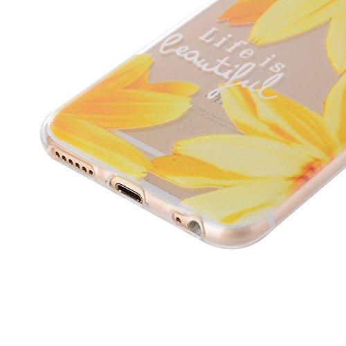 iPhone 6/6S Plus 5.5 Inch Case,Feeltech |Gratuit Stylet| Premium Slim Coque TPU Gel Ultra Mince Étui Protecteur Housse Clair Nouveau Collection Avec Silicium Colorée Dessin Motif Protection Couverture Tournesol