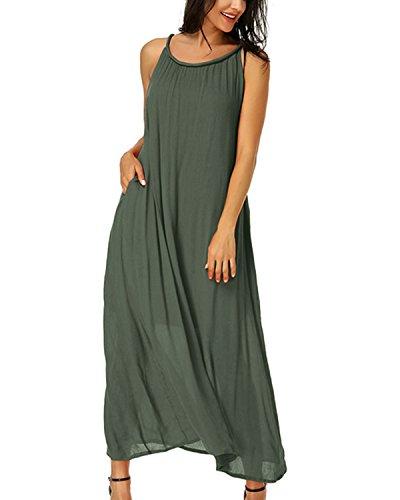 Auxo Damen Ärmellos Sommer Strandkleid Rundhals Cocktail Club Lange Kleider Dress Olive EU 40/Etikettgröße L - Olive-partei-kleid