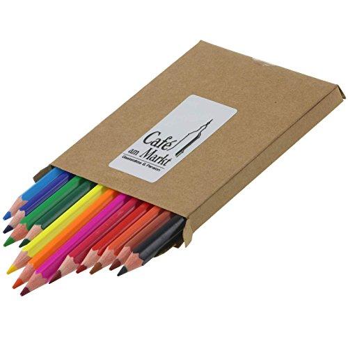 10 x Buntstifte 12 teilig im Karton mit Ihrer Werbung auf Silberetikett