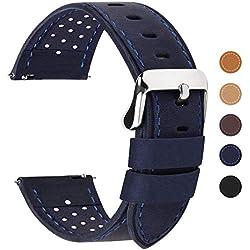 Fullmosa 18mm 20mm 22mm 24mm Bracelet Montre à Dégagement Rapide, Breeze 5 Couleurs Bracelet de Montre en Cuir de Veau, 20mm Bleu Foncé