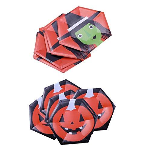 geschirr Einwegteller Pappteller Kuchenteller mit Hexe und Kürbis Muster, Größe: 10 Zoll ()