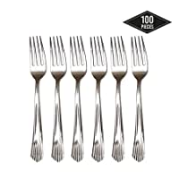 MATANA 100 Premium Disposable Plastic Forks Silverware Set - Strong Durable & Reusable| Plastic Fork Cutlery, Party Tableware for Catering Parties Birthdays Weddings Christmas New Year.