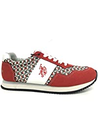 US Polo Association - Zapatillas de Piel para mujer Rojo rojo