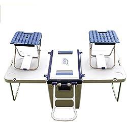 AIDONG 25L Mesa Creativa Combinar Silla convertir en una Mesa Dos sillas Carro portatil cubeta de Hielo Pesca de Picnic Caja de enfriamiento 27Quart