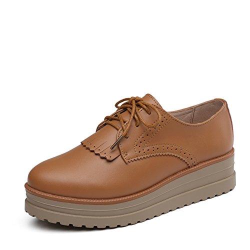 Primavera Scarpe Casual,Inglese Scuola Scarpe Piattaforma Stile,Piatte Scarpe Da Donna,Fondo Spesso Scarpe Di Cuoio C