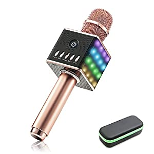 LED Karaoke microfono senza fili,NASUM H8 Microfono altoparlante Bluetooth integrato e Mini cellulare palmare Karaoke Player,2600mAh Batteria,Microfono Karaoke portatile,Luci LED colorati
