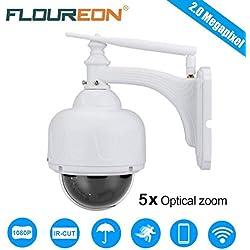 FLOUREON Caméra IP Surveillance 1080P sans Fil Caméra IP PTZ 5X Zoom Extérieur Caméra de Sécurité IR-Cut Vision Nocturne Détection de Mouvement Vision à Distance par PC Smartphone P2P