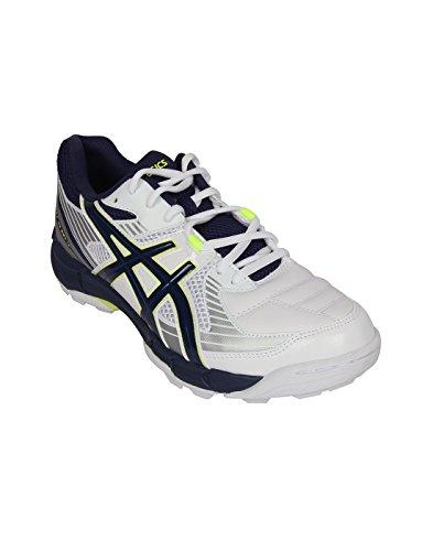 Asics Men's Gel-Peake 5 White, Indigo Blue and Silver Cricket Shoes - 11 UK
