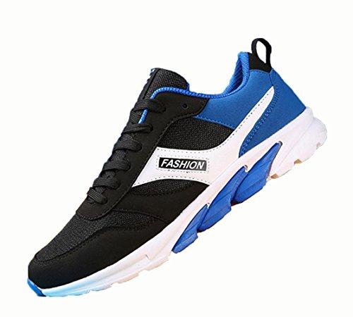 WZG Herren Freizeitschuhe atmungsaktive Mesh-Spitze flache Schuhe jugendlichen Laufschuhe der Männer blue black