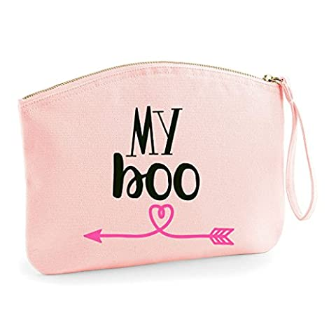 My Boo BFF Statement Matching Best Friends Make Up Bag - Cosmetic Organic Cotton Canvas Case - Pink,