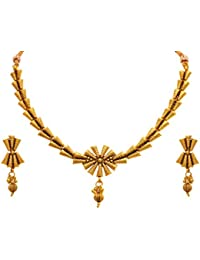 Jfl - Jewellery For Less Traditional Ethnic One Gram Gold Plated Designer Necklace Set With Earring For Women