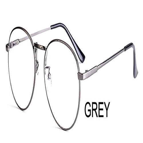Computer Runde Frame Print Brille Frauen Strahlen Strahlung Brillenfassungen Metall Unisex Anti Blue Light Brille Männer Optische (Frame Color : PGJ023 grey)
