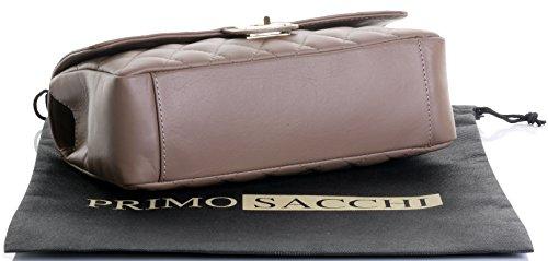Borsa di cuoio italiano Design classico diamante forma borsa tracolla imbottita, con catena in metallo e cuoio, maniglie / tracolla include una custodia protettiva marca Beige scuro