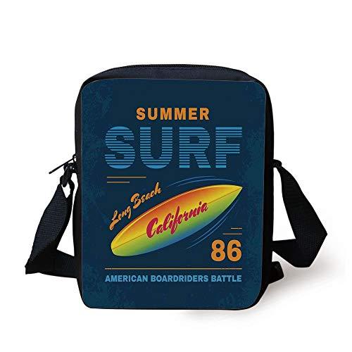 LULABE Surf,American Boardriders Battle Sign Long Beach Sun Standing in Waves Illustration,Navy Blue Orange Print Kids Crossbody Messenger Bag Purse