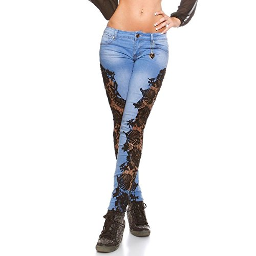 Lanmworn Frau Weiß Schwarz Spitze Zerrissene Jeans,Beunruhigt DüNn Modisch Bleistift Denim Hose Fest BeiläUfig Patchwork Blumen Gamaschen Hose Hellblau Blau