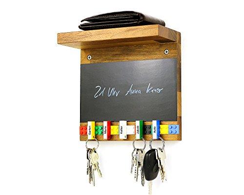 Schlüsselbrett Play 205 Holz für die ganze Familie   Schlüsselboard mit Ablage   Schlüsselleiste Nussbaum mit 5 Schlüsselanhängern zum selbst beschriften   Memoboard Tafel mit Kreidestift   bunt