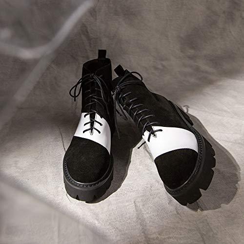 HOESCZS Frauen Schuhe Leder Martin Stiefel Schwarz Und Weiß Asymmetrische Mode Frontgürtel Mit Dicken Plattform Mit Dicken Ferse Freizeitschuhe, Schwarz, 36 -