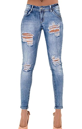 Icegrey Damen Jeanshose Destroyed Slim Fit Jeans Stretch Zerrissen Low Waist Denim Hose Blau