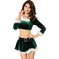 Womens/Miss Green Sexy Party Fancy Santa Dress Xmas Claus Costume Outfit