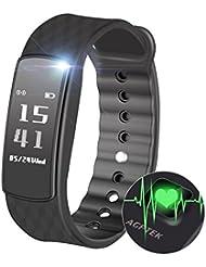 Fitness Tracker, AGPTEK Band 2, Bracelet Intelligent avec Moniteur Pulsation, Podomètre ,moniteur calories, IP67 Waterproof pour Smartphone Android 4.4, iOS 8.0 ou plus, Noir
