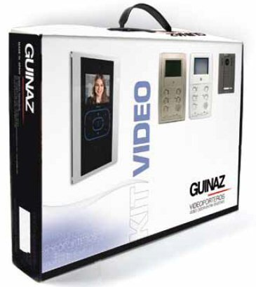 Guinaz Colour Video and Audio Intercom System with Hands-Free Tactile Touch Screen Colour Monitor, Single dwelling, 1 Button. Uses CAT5 cable (not supplied) for simple and easy installation.