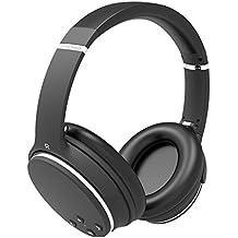 AXCEED Auriculares Bluetooth Plegables Inalámbricos Activables con Cancelación de Ruido Cascos con Micrófono en la Oreja Negro