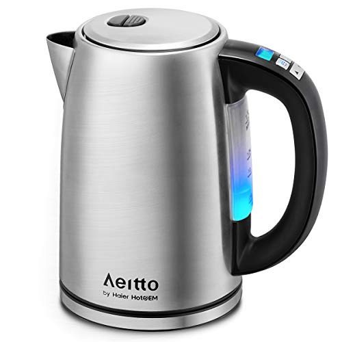 Edelstahl Wasserkocher mit Temperatureinstellung, Aeitto 1,7L Wasserkessel Teekessel, 2H Warmhaltefunktion, Max. 2200 Watt, Teekocher mit 6 Farbigen Leuchten