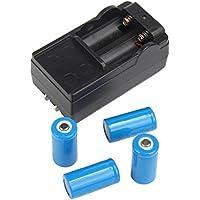 Malloom 4x 2000mAh 16340 Recargable Batería del Li-ion Para LED linterna + CR123A cargador