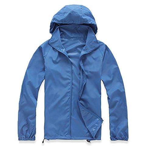 FNKDOR Unisex Water / Windproof Outdoor Sports Quick Dry Jacket Coat Blouse (M, Bleu)