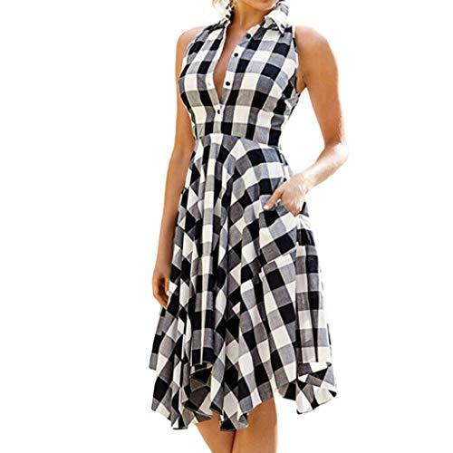 Das Beste Muttertagsgeschenk !!! Pondkoo Vintage V-Ausschnitt, ärmelloses, Kariertes Kleid mit...
