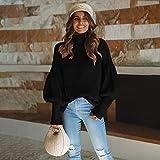 LMHNSBSS Damenbekleidung Herbst und Winter Frauen vierfarbig hochgeschlossene Laternenärmel schwarz S