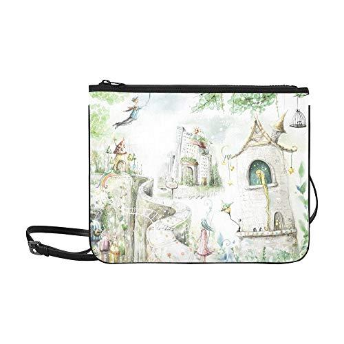 AGIRL Magische Waldwege Märchenfiguren Benutzerdefinierte hochwertige Nylon Slim Clutch Crossbody Tasche Umhängetasche