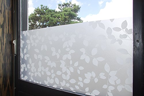 """Tamia-Home Statische Fensterfolie 90% UV-Sonnenschutz Selbsthaftende Sichtschutzfolie Glasdekor """"Blätter Weiß"""", 1 Stück, milchweiß, halbtransparent, HF-C5X4-XEW1 - 4"""
