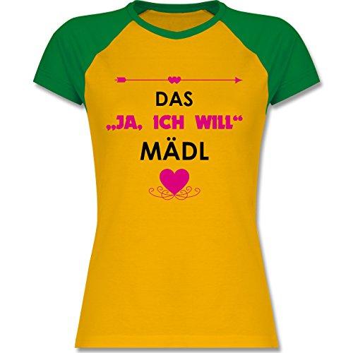 """JGA Junggesellinnenabschied - Das """"Ja, ich will"""" Mädl - zweifarbiges Baseballshirt / Raglan T-Shirt für Damen Gelb/Grün"""