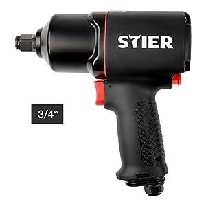 STIER Druckluft Schlagschrauber 23-TR, 3/4 Zoll, max. Lösemoment: 1.756 Nm, Hochleistungs Doppelhammer-Schlagwerk, 3…