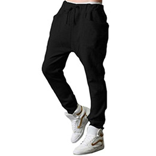 Men's Black Tapered Baggy Running Trouser by QZS Clothing