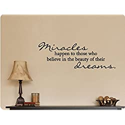 "Wandaufkleber Wall Sticker quotes 34""x12"" Miracles Happen To Those who Believe In the Beauty of Their Dreams Christian Religious Wall Decal Sticker Art Mural Home Decor Quote"