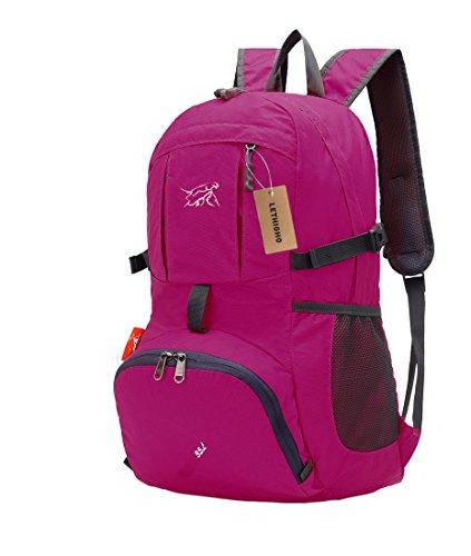 Lethigho Unisex Rucksack, faltbar, ultra-leicht, wasserabweisend, für Reisen und Outdoor-Aktivitäten rot - Rose Red