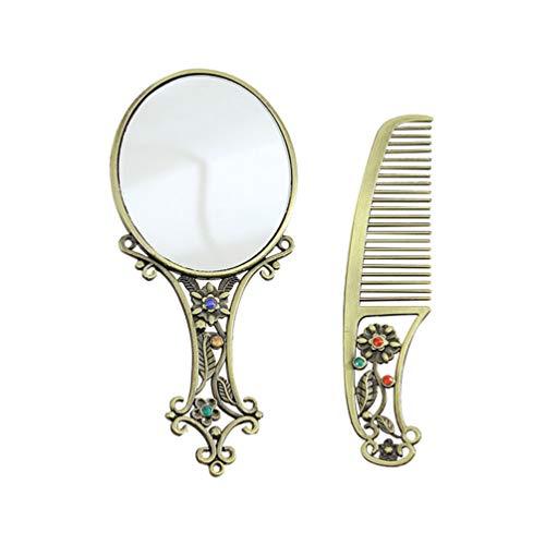 Lurrose Conjunto de Peine de Espejo Peine de Metal Vintage y Espejo para Dama Mujer Maquillaje Viaje...
