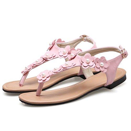 COOLCEPT Femme Mode Sangle De Cheville lacets sandales Plat Clip Slingback Chaussures Avec Fleur taille Rose