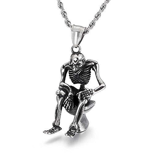 Männer Hip Hop Kette Steampunk Schädel Skelett Anhänger Halskette Nicht Mainstream Sautoir Punk Reaper Schmuck Geschenke,Silver (Steampunk Kostüme Paare)
