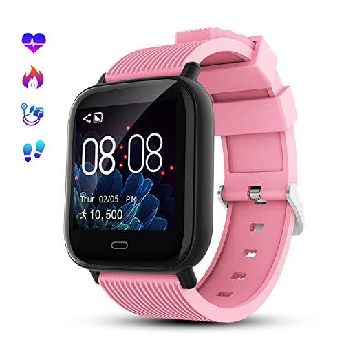 GOKOO Montre Connectée Femmes Homme Smartwatch Sport Bracelet Connecté Etanche Sport Fitness Tracker d'Activité Enfant Podometre Cardio Frequencemètre Chronomètres pour Android iOS (Rose Rouge)
