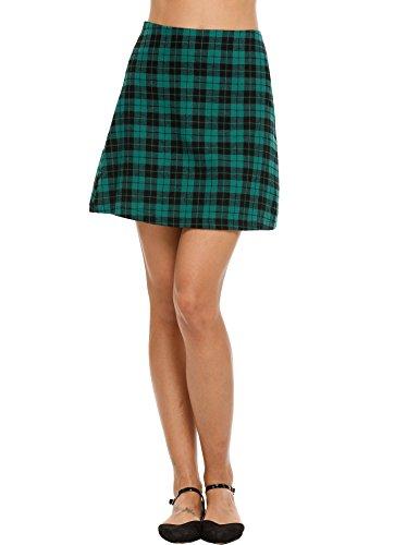 Chigant Damen Hoch Taillierte Plaid Falten Mini Skater Uniform Schulrock Rock Faltenrock (Skort Plaid Rock)