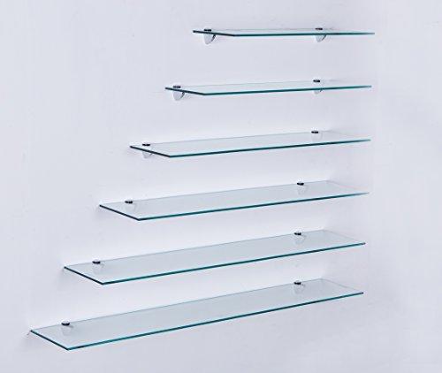 Euro Tische Glas Wandregal Klarglas - Glasregal mit 6mm ESG Sicherheitsglas - perfekt geeignet als Badablage/Glasablage für Badezimmer - Verschiedene Größen (30 cm)