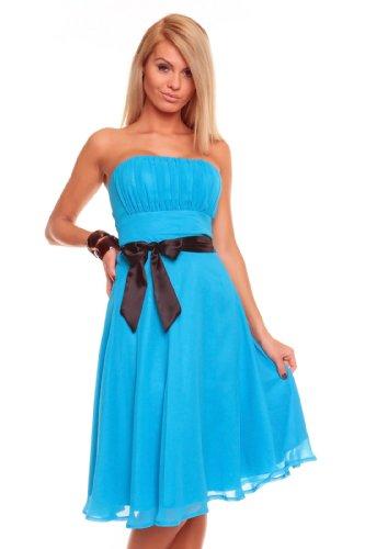 Sexy Damen Bandeau Kleid Glamour Cocktailkleid Abendkleid Chiffon Brautjungfernkleid 181 (L,...
