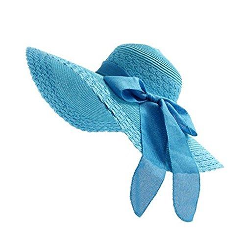 TININNA Fashion Femme Filles Wide Brim Floppy Chapeau Voyage Chapeau De Soleil Capeline Chapeau Paille à Bord Large Panama Boucle Bleu