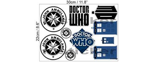 1 Aufkleber Set St. John Ambulance Dr Who Tardis Phone Box Ship Aufkleber Sticker + Gratis Schlüsselringanhänger aus Kokosnuss-Schale + Auto Motorrad Laptop Doctor Who Science-Fiction Kult UK Bad Wolf (Aufkleber Who Dr)