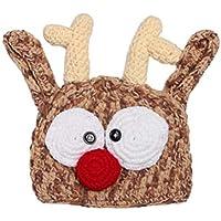 Toyvian Sombrero de Reno de Navidad Bebé Hecho a Mano Punto de Ganchillo Bebé recién Nacido Fotografía Fotografía Prop (43-45cm)